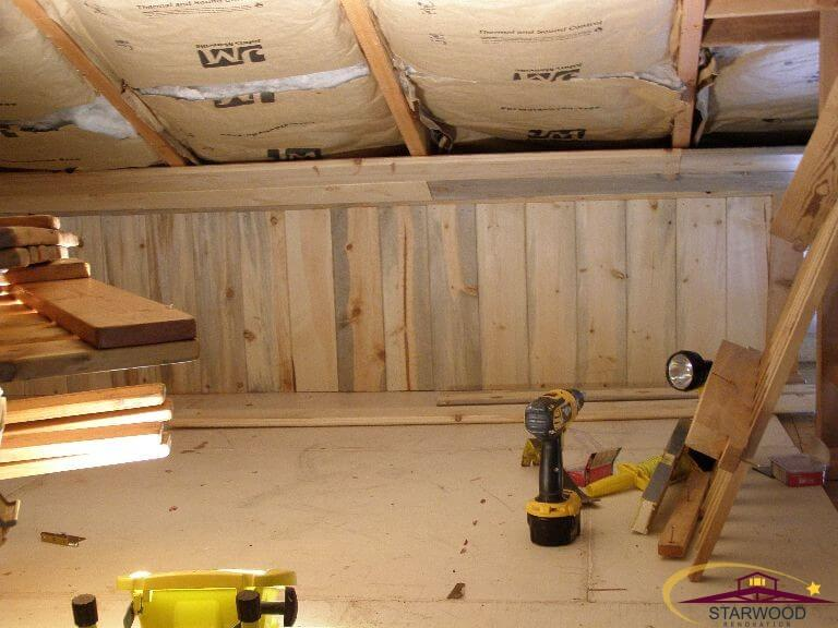 Start of insulation installation in remodel of cabin room in Wyoming