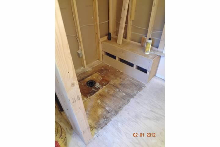 More progress before new shower in remodel of bathroom room in Denver
