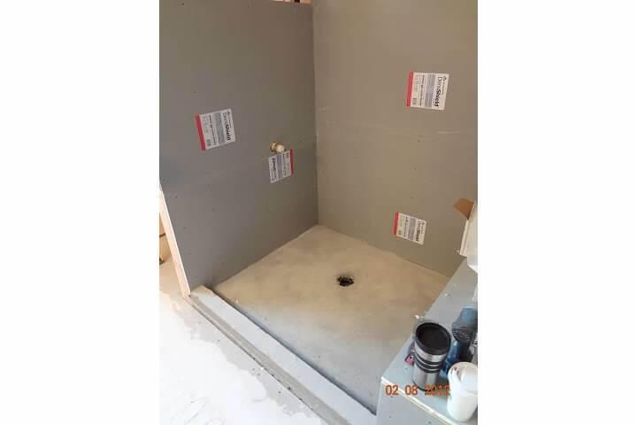 New shower walls before tile in remodel of bathroom room in Denver