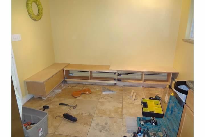 Progress in building custom breakfast nook bench seating