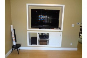Custom Built In Entertainment Center - Painted Wood - Denver Colorado
