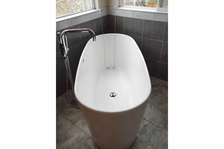 Freestanding Spa Tub After Modern Bathroom Remodel