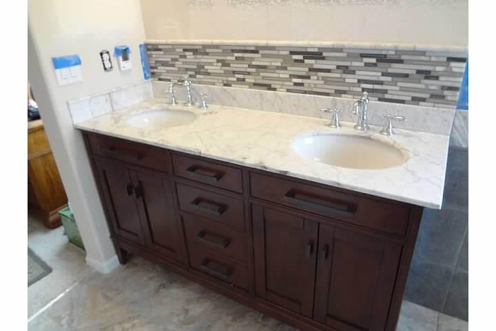 Dual Sink Vanity After Modern Bathroom Remodel