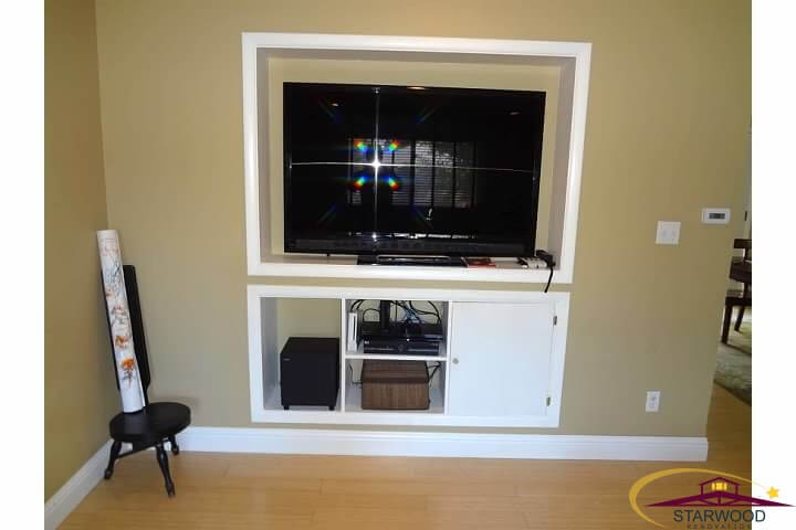 Custom built-in entertainment center with painted wood in remodel of living room in Denver