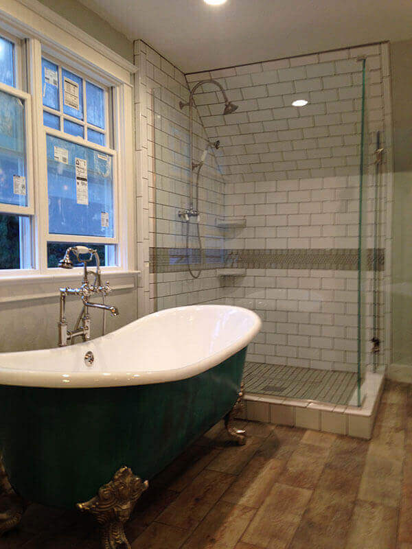 denver bathroom remodel claw foot tub and custom glass shower - Bathroom Remodel Denver
