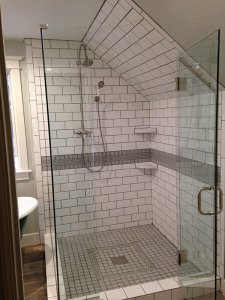 Denver Bathroom Remodel Claw Foot Tub and Custom Glass Shower Custom Tile