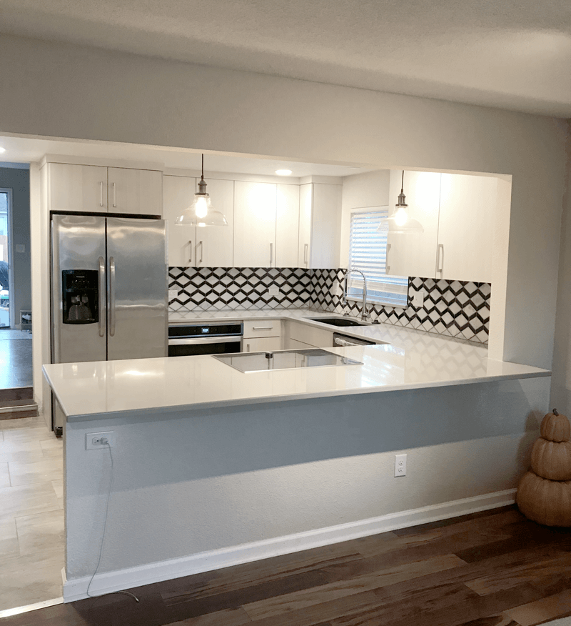 denver kitchen remodel white quartz