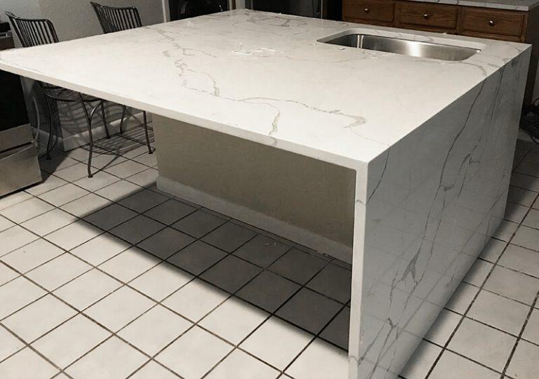 Quartz island in remodel of kitchen in Golden