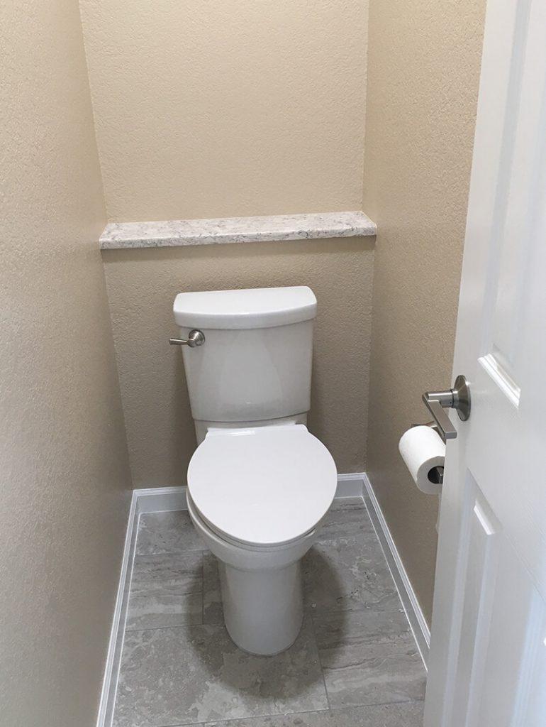 Water closet in remodel of bathroom in Lakewood