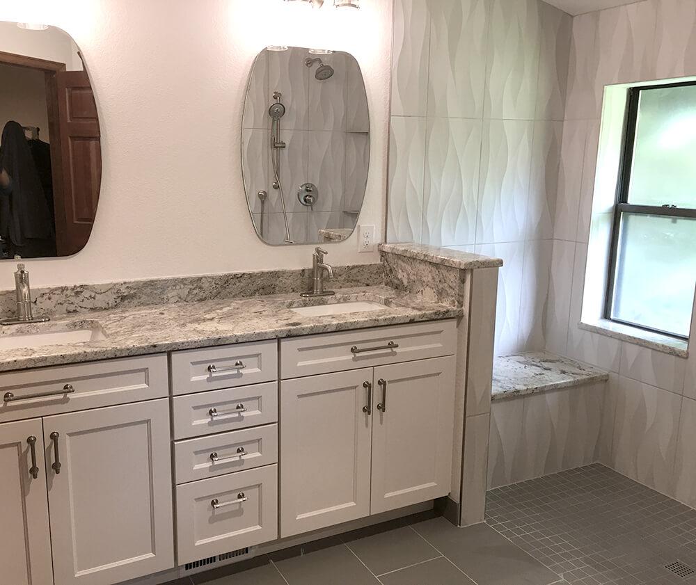Littleton bath remodel granite and glass shower