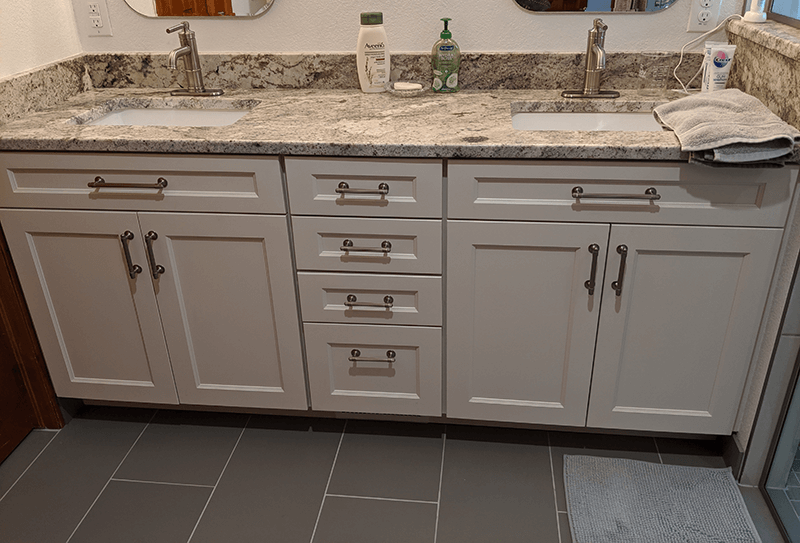 Littleton bath remodel granite counter