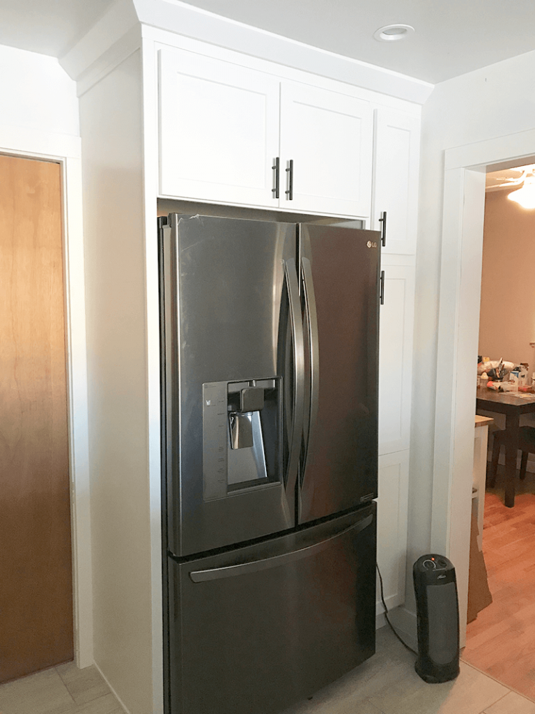 Relocated fridge to give more room in remodel of kitchen in North Denver