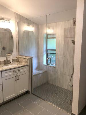 Littleton bath remodel glass enclosed shower